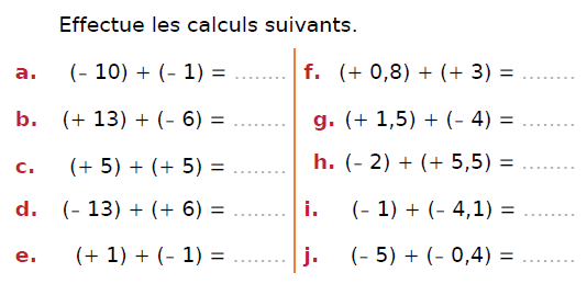 Somme de deux nombres relatifs : exercices en 4ème.