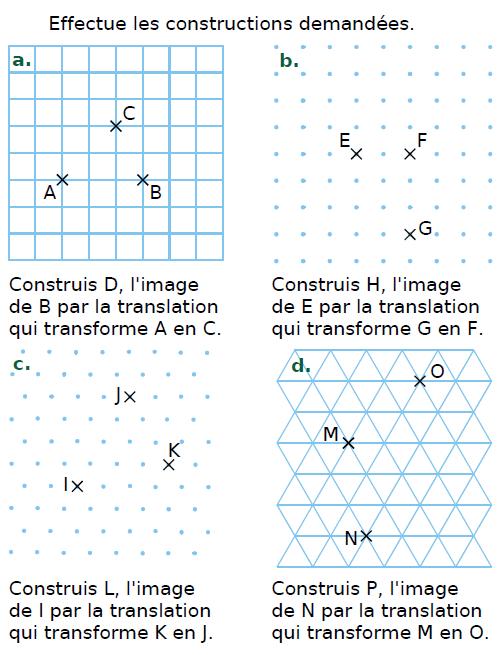 Translation et construction d'images : exercices en 4ème.