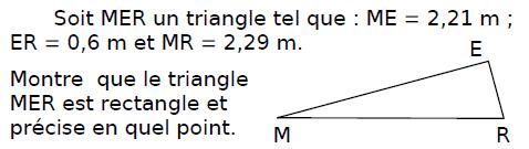 Montrer que le triangle MER est rectangle : exercices en 4ème.