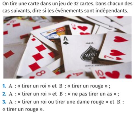 Un jeu de 32 cartes : exercices en 1ère S.