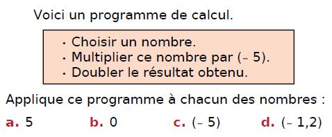 Appliquer un programme de calcul : exercices en 4ème.