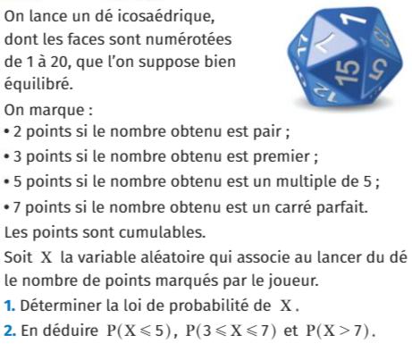 Un dé icosaédrique et probabilités : exercices en 1ère S.