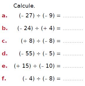 Diviser deux nombres relatifs : exercices en 4ème.
