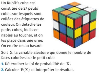 Un Rubik's cube et probabilités : exercices en 1ère S.