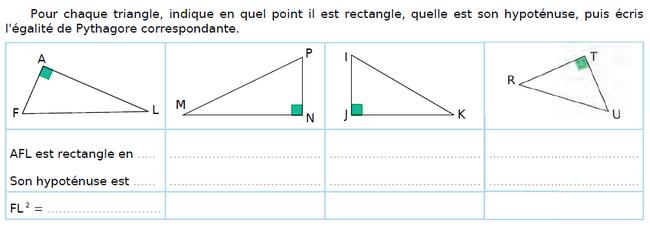 Ecrire l'égalité de Pythagore : exercices en 4ème.