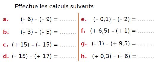 Soustraction de deux nombres relatifs : exercices en 4ème.