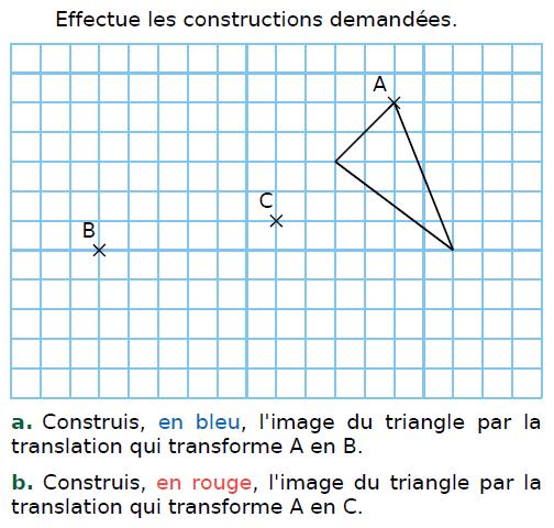 Construire l'image d'un triangle par translation : exercices en 4ème.