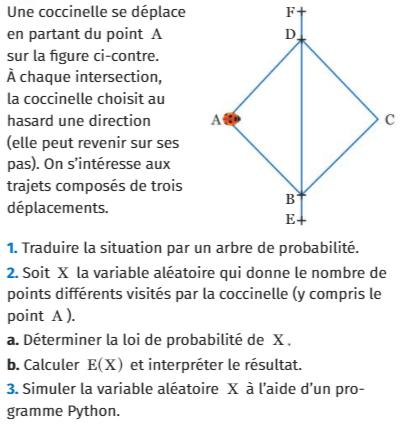 Déplacement d'une coccinelle et probabilités : exercices en 1ère S.
