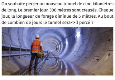 Forage et tunnel : exercices en 1ère S.