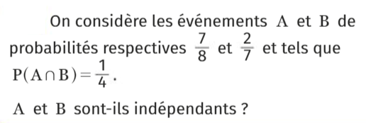 Des événements indépendants ? : exercices en 1ère S.