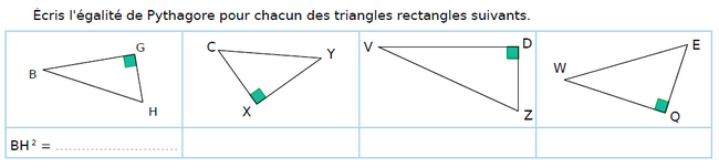 Triangles et égalité de Pythagore : exercices en 4ème.