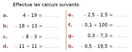 Effectuer les calculs : exercices en 4ème.