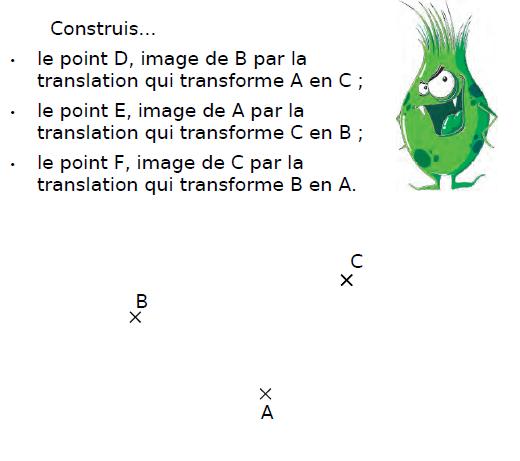 Construire des images par translation : exercices en 4ème.