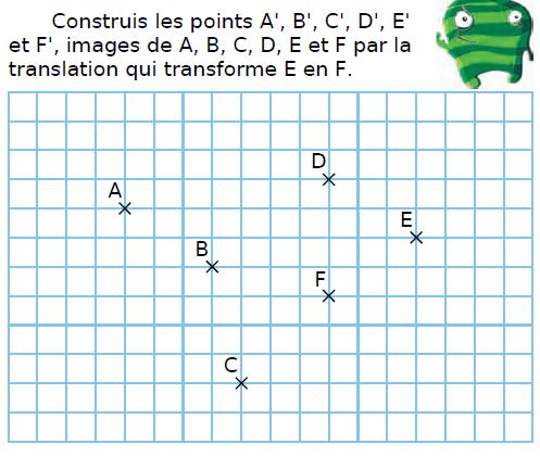 La translation qui transforme E en F : exercices en 4ème.