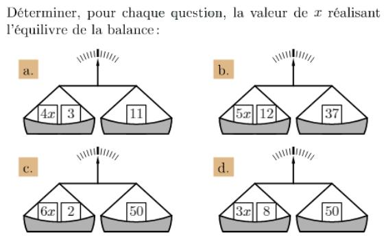 Déterminer la valeur de x : exercices en 4ème.