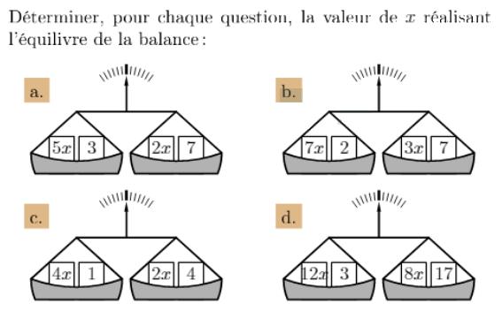 Quelle est la valeur de x ? : exercices en 4ème.