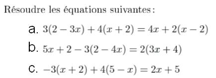 Des équations un peu plus complexes... : exercices en 4ème.