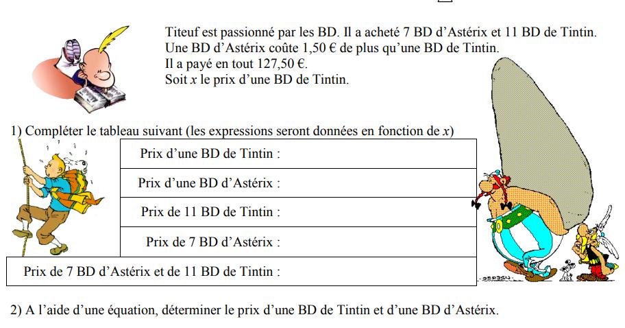Titeuf et les BD : exercices en 4ème.