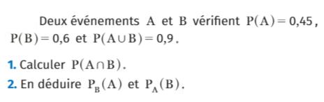 Calculer la probabilité conditionnelle : exercices en 1ère S.