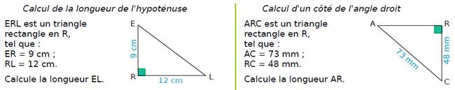 Partie directe du théorème de Pythagore : exercices en 4ème.