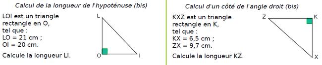 Théorème de Pythagore : partie directe : exercices en 4ème.