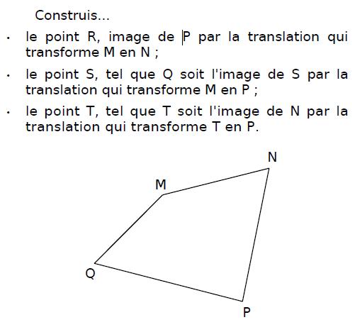 Translation d'un quadrilatère : exercices en 4ème.