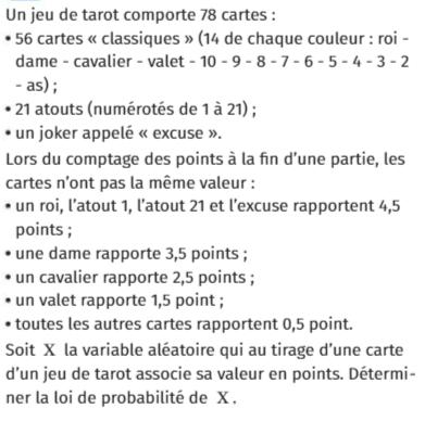 Un jeu de tarot de 78 cartes : exercices en 1ère S.