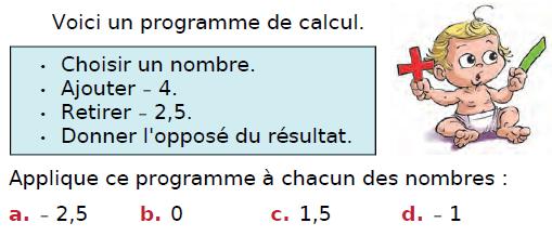 Programme de calcul : exercices en 4ème.