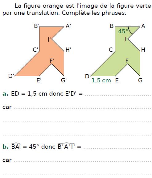 Figure image par translation : exercices en 4ème.