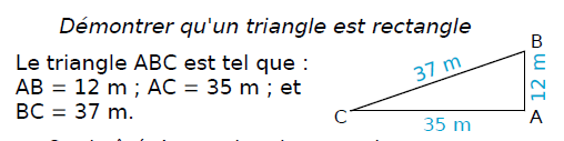 Démonter qu'un triangle est rectangle : exercices en 4ème.