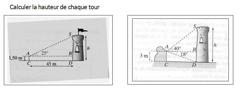 Hauteur d'une tour : exercices en 3ème.
