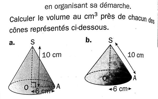 Volume de cônes de révolution : exercices en 3ème.