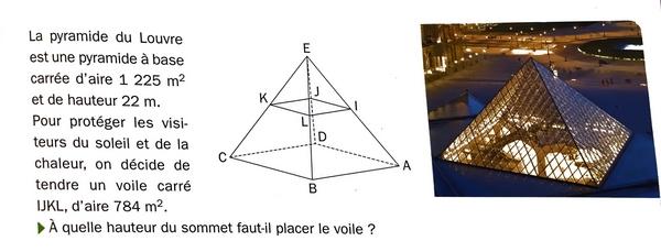 La pyramide du Louvre et calculs de volumes : exercices en 3ème.