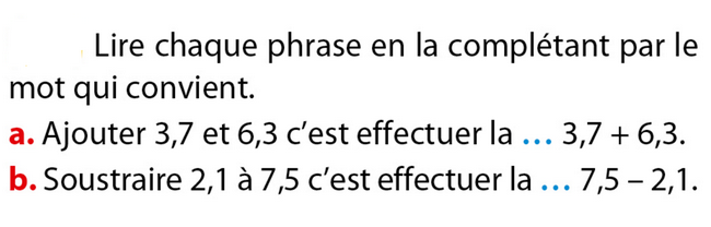 Vocabulaire de l'addition et la soustraction : exercices en 6ème.