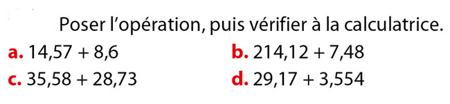Poser une addition : exercices en 6ème.