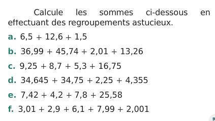 Calculer des sommes : exercices en 6ème.
