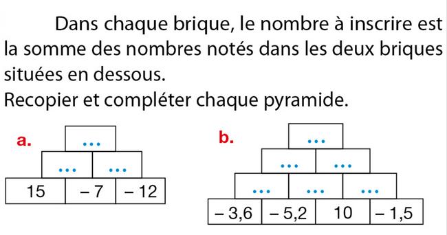 Pyramide de nombres relatifs : exercices en 5ème.