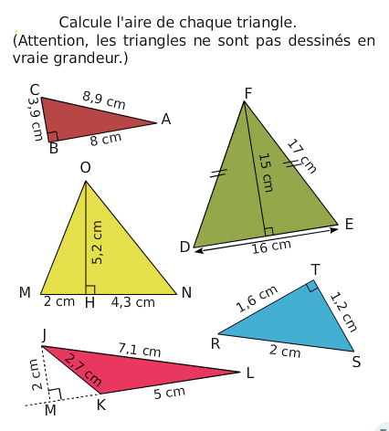Aire d'un triangle : exercices en 6ème.