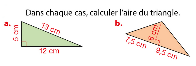 Aire d'un triangle : exercices en 5ème.