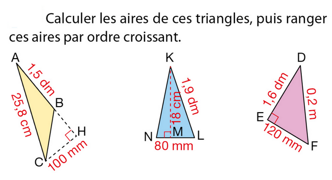Calculer l'aire de ces triangles : exercices en 5ème.