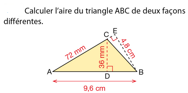 Calculer l'aire du triangle ABC : exercices en 5ème.
