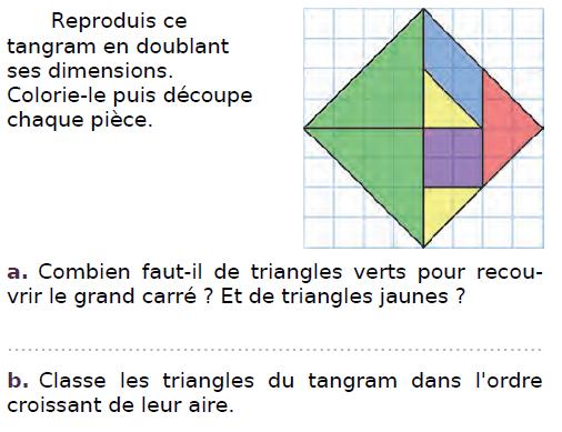 Reproduire ce tangram : exercices en CM2.