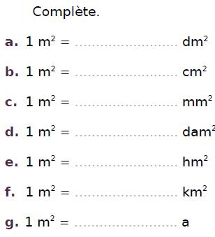Conversions d'aires : exercices en CM2.