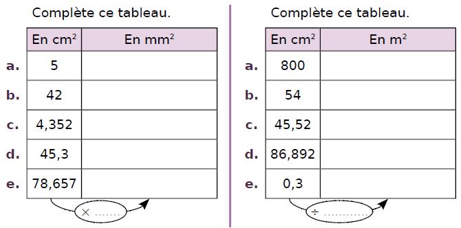 Convertir des aires : exercices en CM2.