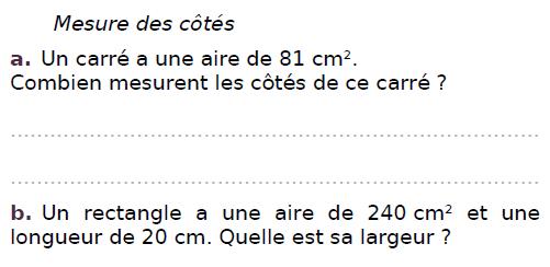 Calculer l'aire de différents carrés : exercices en CM2.