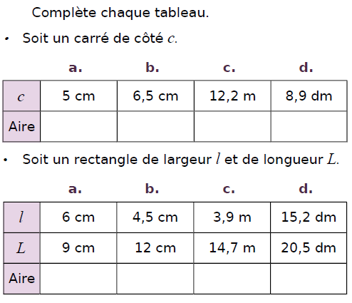 Aire de carrés et de rectangles : exercices en CM2.