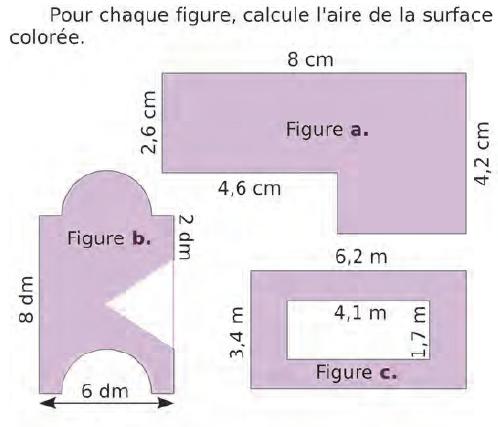 Pour chaque figure, calculer l'aire de la surface : exercices en CM2.