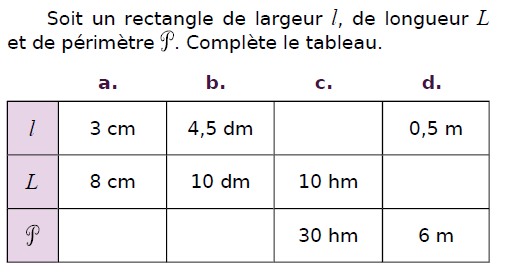 Un rectangle de largeur l et de longueur L : exercices en CM2.