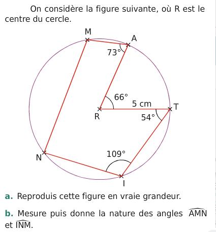 Cercle et angles : exercices en 6ème.