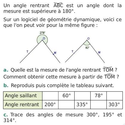 Angle rentrant et saillant : exercices en 6ème.